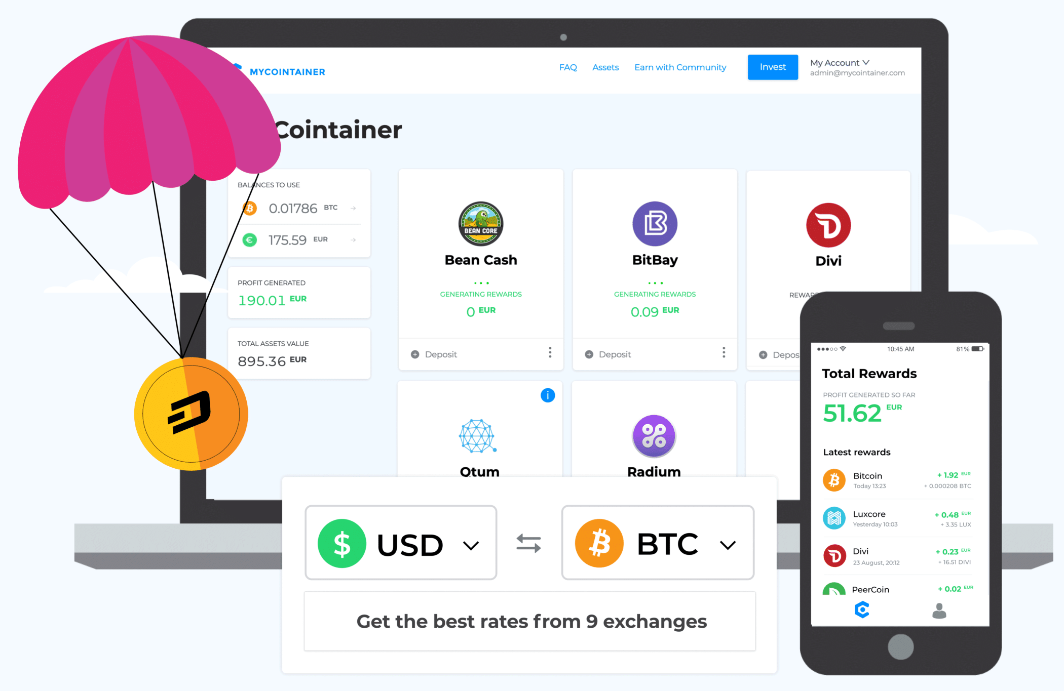 MyCointainer: Proof of Stake & AirDrops & Staking & Masternode & IPOs combinados