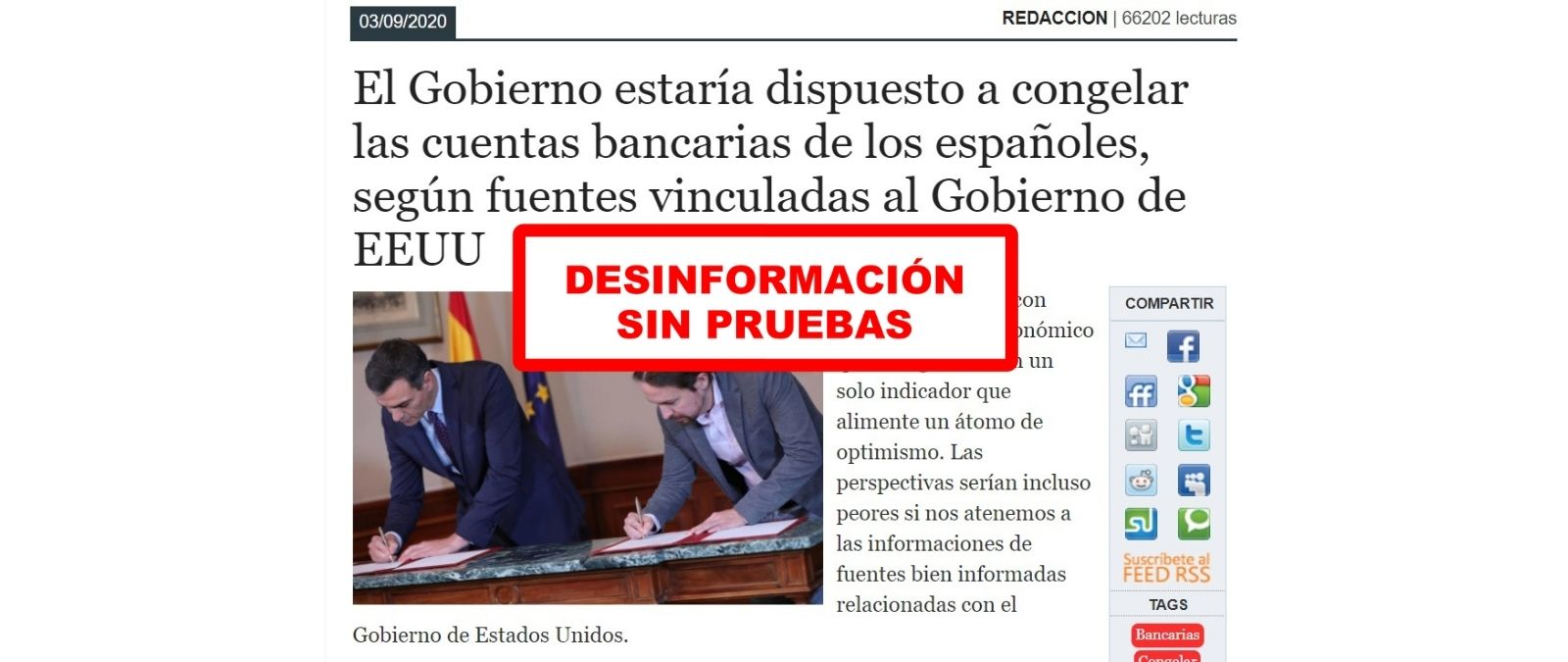 No hay pruebas de que el gobierno esté dispuesto a congelar las cuentas bancarias de los españoles. OMG.