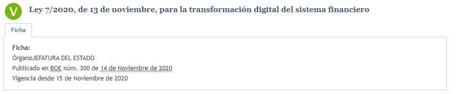 Ley para la transformación digital del sistema financiero español fue publicada ya en el BOE.