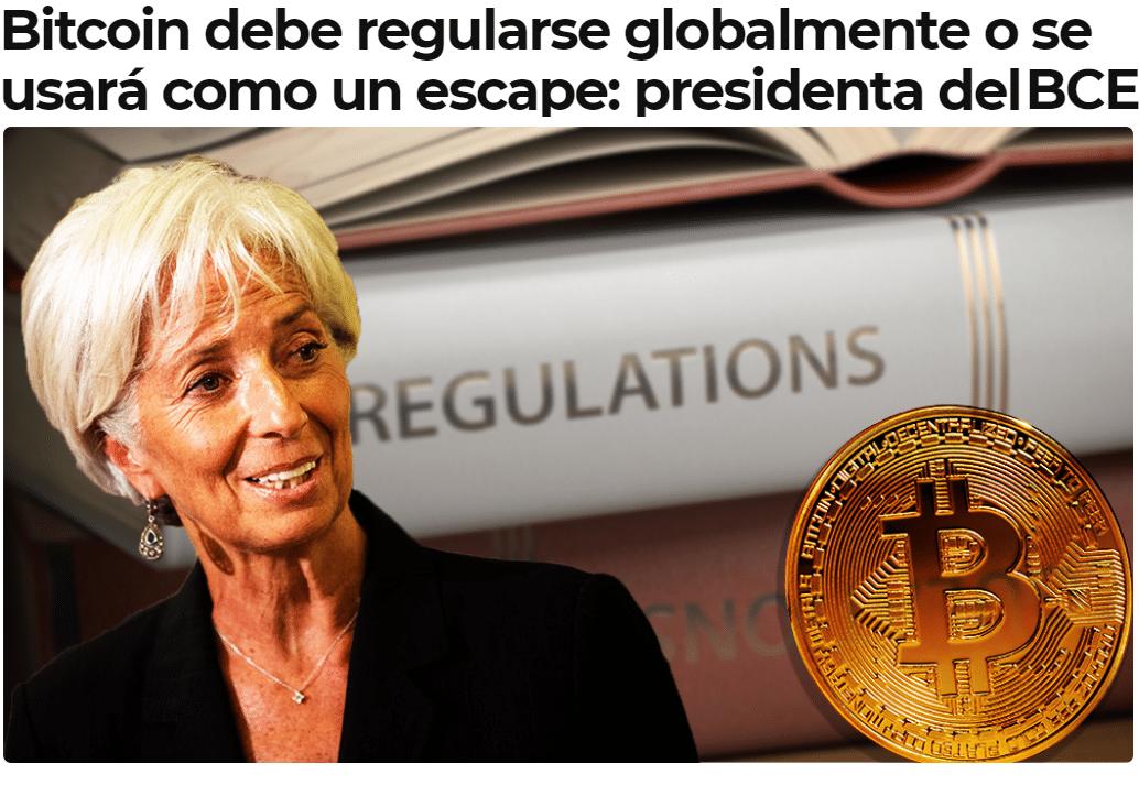 Ponerle el cascabel al gato. Bitcoin debe regularse globalmente o se usará como un escape: presidenta del BCE. NWO.